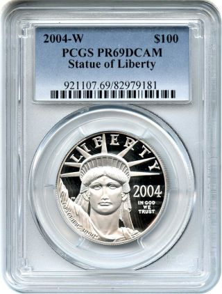 2004 - W Platinum Eagle $100 Pcgs Pr 69 Dcam - Statue Liberty 1 Oz photo
