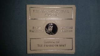 Vintage Franklin Solid Platinum Ltd Ed First Step On The Moon Mini Coin photo