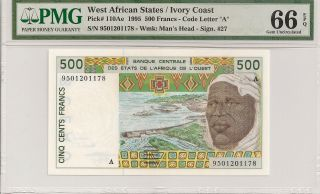 P - 110ae 1995 500 Francs,  West African States/ Ivory Coast,  Pmg 66epq photo