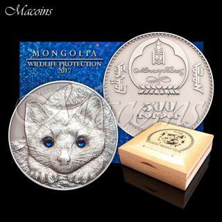 Sable Wildlife Protection 2017 Mongolia 1 Oz 999 Silver Antiqued Coin photo