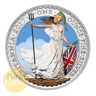 2017 1oz £2 Gbp Uk Silver Britannia Colorized Brexit photo