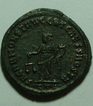Ancient Roman Coin Constantius Chlorus 305 Ad Moneta Scales Cornucopiae photo