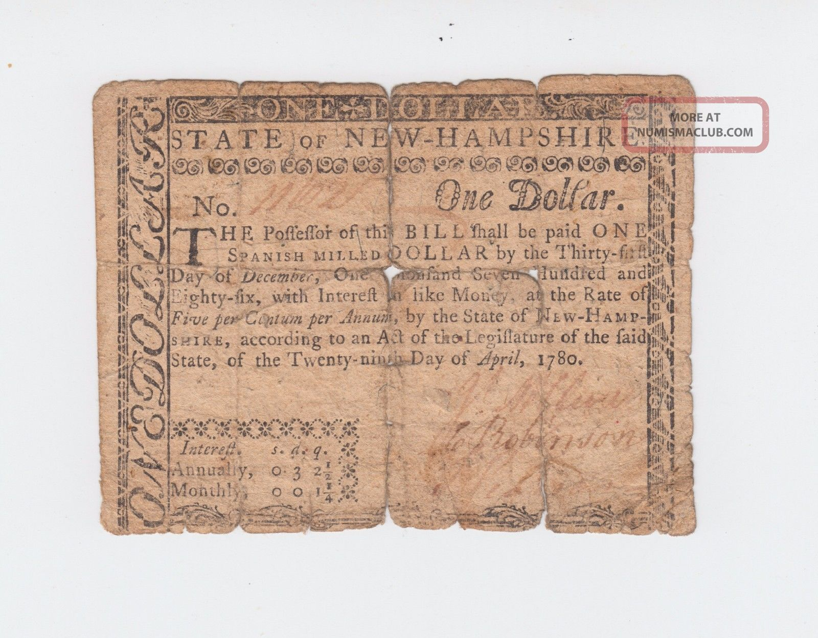 Colonial Currency - Hampshire 1780,  One Dollar $1 Note Paper Money Usa Paper Money: US photo