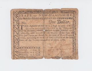 Colonial Currency - Hampshire 1780,  One Dollar $1 Note Paper Money Usa photo