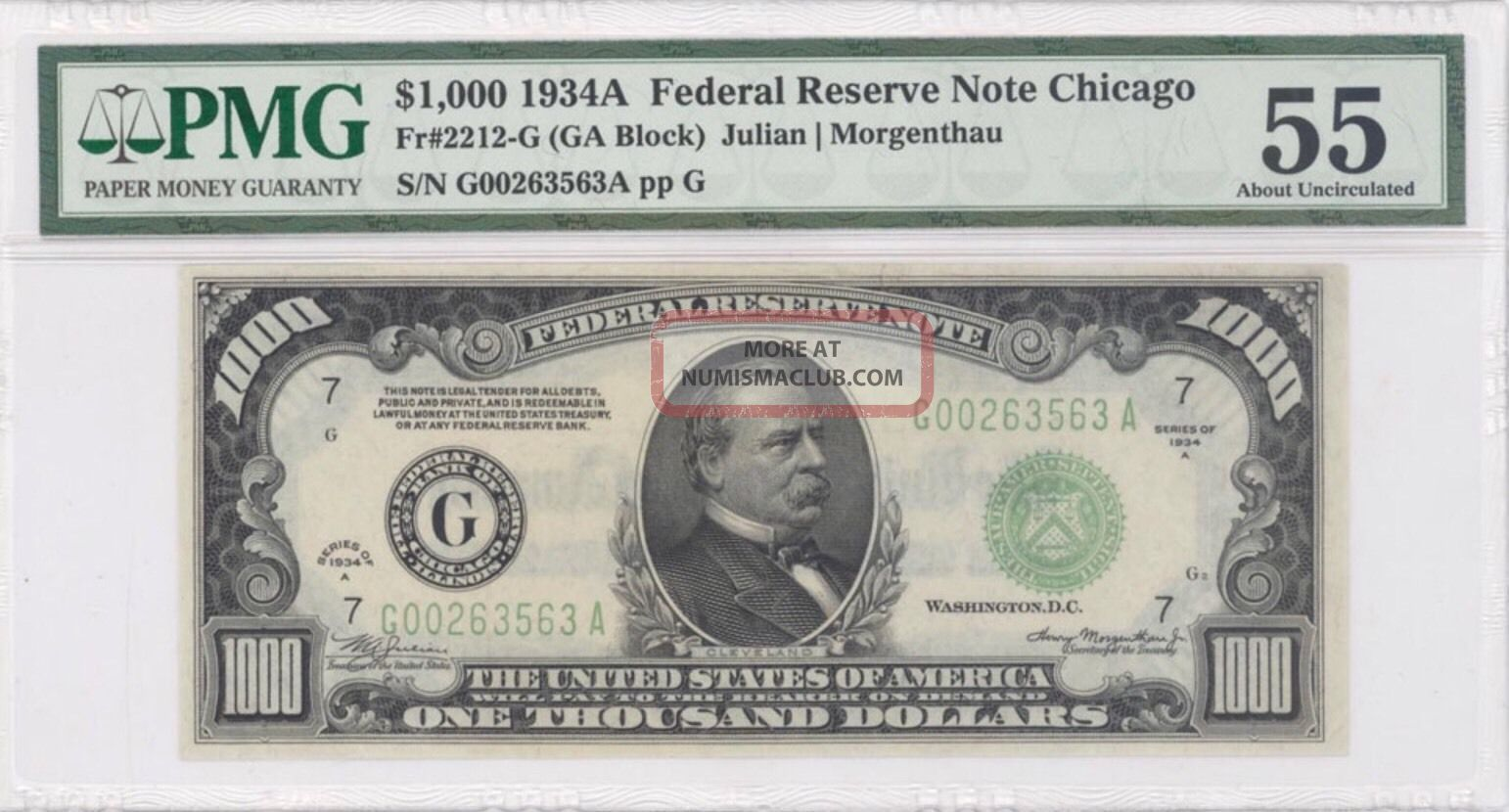 1934a $1000 Thousand Dollar Bill Chicago Currency Note Pmg Au 55 Minor Repair Small Size Notes photo