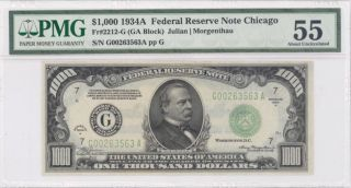 1934a $1000 Thousand Dollar Bill Chicago Currency Note Pmg Au 55 Minor Repair photo