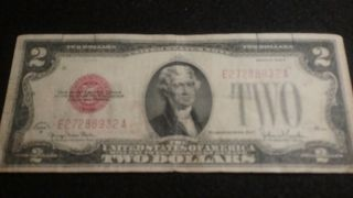 1928g $2 Dollar Bill Old Us Note Legal Tender Paper Money Currency Red Sl Y949 photo