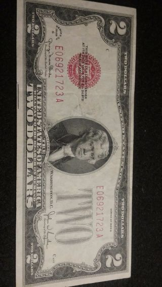 1928 - G $2 Two Dollar Red Seal Note Bill In photo
