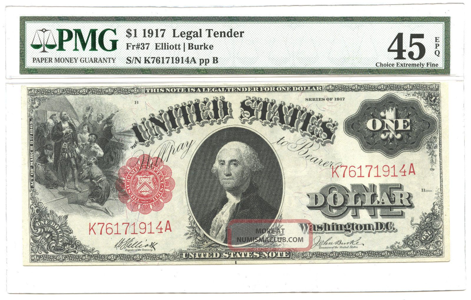 1917 $1 Large Size Legal Tender Note Fr 37 Pmg Choice Extremely Fine 45 Large Size Notes photo