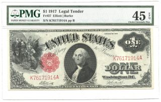 1917 $1 Large Size Legal Tender Note Fr 37 Pmg Choice Extremely Fine 45 photo