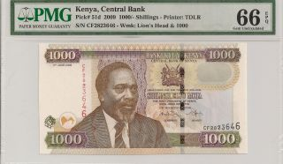 P - 51d 2009 1000 Shillings,  Kenya Central Bank,  Pmg 66epq photo