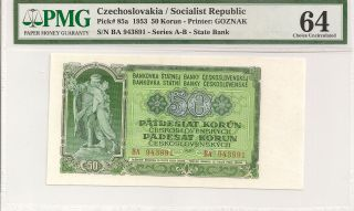P - 85a 1953 50 Korun,  Czechoslovakia Socialist Republic,  Pmg 64 Very Choice Unc. photo