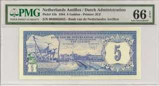 P - 15b 1984 5 Gulden,  Netherlands Antilles/ Dutch Administration,  Pmg 66 Epq photo