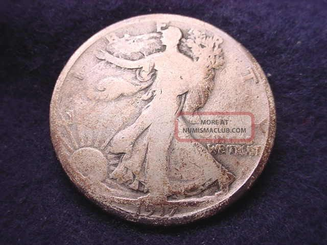 1917 - D Reverse Mm Walking Liberty Half Dollar Coin - - 2572 Liberty Walking (1916-47) photo