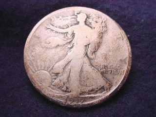 1917 - D Reverse Mm Walking Liberty Half Dollar Coin - - 2572 photo