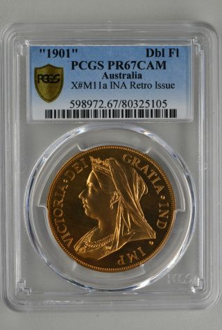 Victoria Australia Double Florin 1901 Pcgs Pr67cam Copper photo