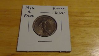 1916 France Republique Francaise 1 One Franc Seed Sowing Silver Coin photo