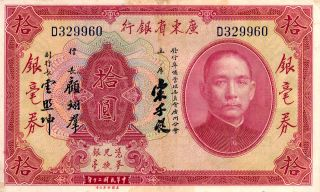 The Kwangtung Provincial Bank China 10 Yuan 1931 Ef photo