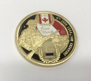 Canada Infantry Division Ww2 Ww Ii D - Day Stamp Shoei Juno Beach Gold Plated Coin photo