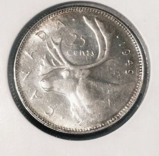 1949 Key Date Bu Silver Canada Quarter. photo