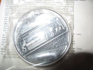 Rare 1973 - P San Francisco Cable Car Centennial Sterling Silver Medal Ltd 9 Oz photo