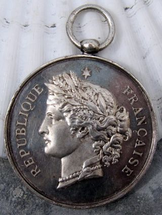 Antique 1891 Large French Silver Plated Medal Award Price Of Music photo
