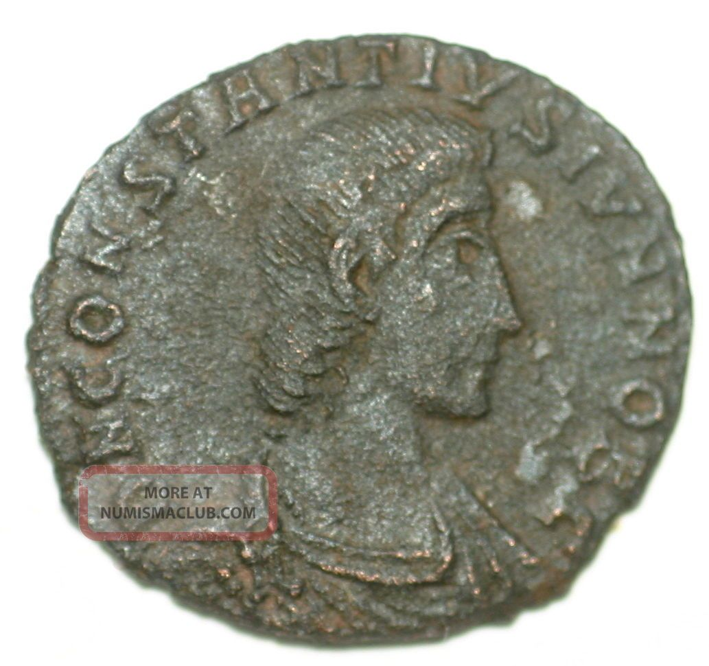 Roman Bronze Coin Follis Constantius Gallus Fallen Horseman Aquilea Ae16 Coins: Ancient photo