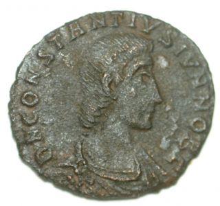 Roman Bronze Coin Follis Constantius Gallus Fallen Horseman Aquilea Ae16 photo