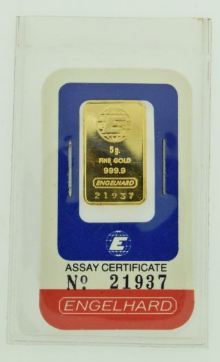 Scarce Vintage Engelhard U.  S.  A.  5 Gram Fine.  9999 Gold Bar In Assay Card 21937 photo