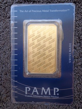 1 Oz Pamp Suisse Gold Bar.  9999 Fine Gold With Assay Cert photo