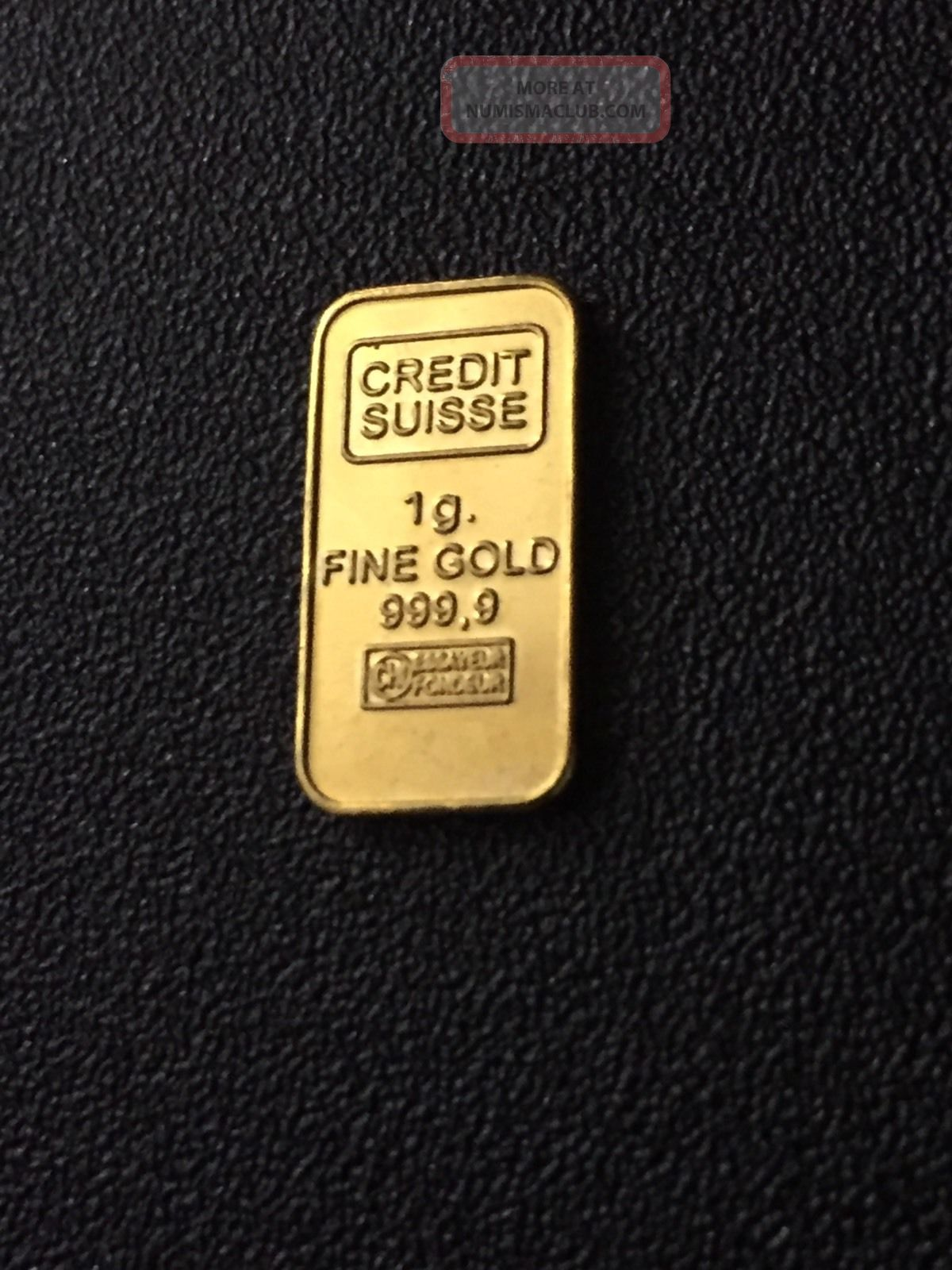 Credit Suisse - 1 Gram Gold Bullion Bar 999.  9 24k Pure Solid Gold - 1g Gold photo