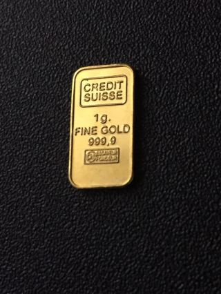 Credit Suisse - 1 Gram Gold Bullion Bar 999.  9 24k Pure Solid Gold - 1g photo