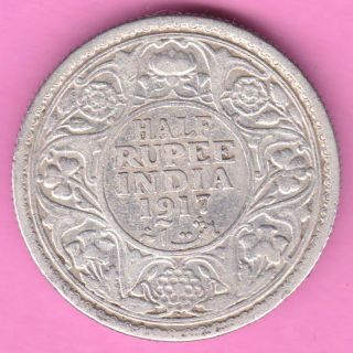 British India - 1917 - Half Rupee - King George V - Rarest Silver Coin - 37 photo