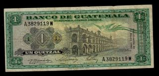Guatemala 1 Quetzal 1967 Pick 52d Fine. photo
