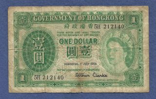 Hong Kong (british) 1 Dollar 1958 Banknote 5h 212140 - Queen Eiizabeth Ii At Left photo