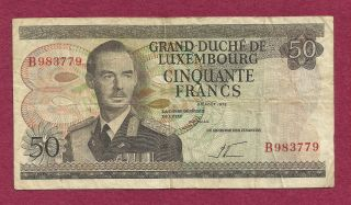 Luxembourg 50 Francs 1972 Banknote B983779 - Grand Duke Jean/workers In Factory photo