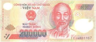 Vietnam 5 X 200000 = 1million Dong Polymer Vietnamese Currency - Unc photo