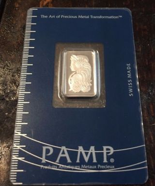 5 Gram Pamp Suisse Platinum Bar (in Assay).  9995 Fine - Lady Fortuna photo
