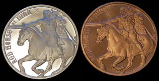 Red Horse Of War 1 Oz Silver/copper Round - Four Horsemen Of The Apocalypse photo