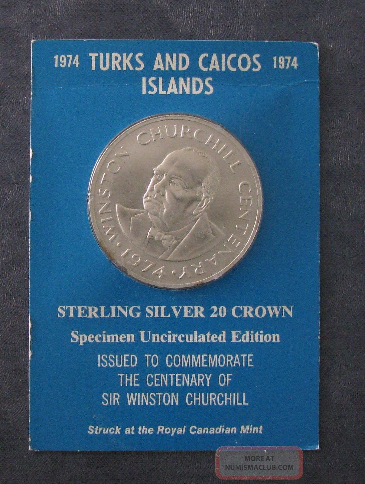 1974 Turks And Caicos 20 Silver Coin - 1.  15 Asw - 45mm Dia - Churchill - No Res North & Central America photo