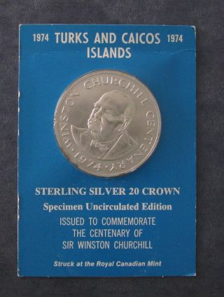 1974 Turks And Caicos 20 Silver Coin - 1.  15 Asw - 45mm Dia - Churchill - No Res photo