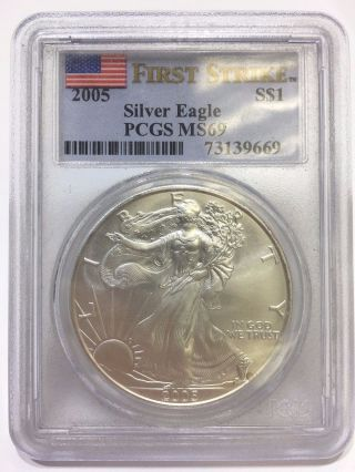 2005 Pcgs Ms 69 First Strike Silver American Eagle One Dollar $1 Coin photo