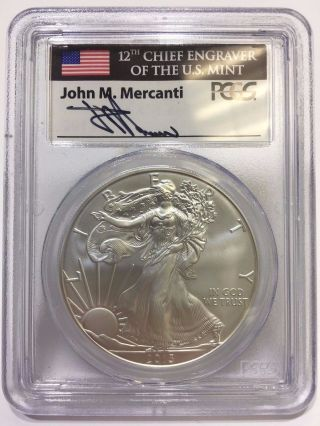 2013 Pcgs John M.  Mercanti Signed Ms 70 First Strike Silver Eagle Dollar $1 Coin photo