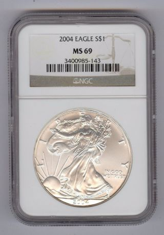 2004 American Silver Eagle Ngc Ms69 photo