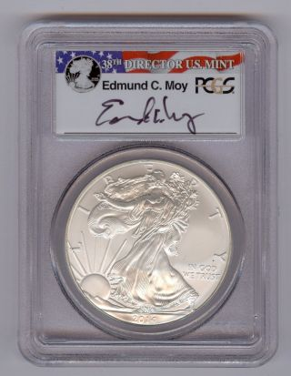 2014 (s) American Silver Eagle Pcgs Ms69 - Signed Edmond C.  Moy photo