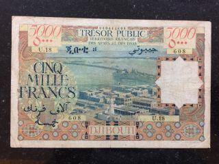 Djibouti Africa Somalia 5000 Francs Large Banknote Afars Et Des Issas photo
