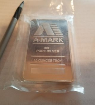 10 Oz A - Mark Silver Bar.  999 Fine photo