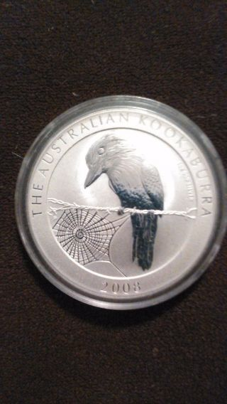 Perth 2008 Kookaburra 1 Oz.  999 Silver,  Bu In Capsule From photo