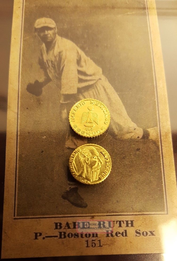 Brilliant Uncirculated 1865 Mexican 24k Gold Coin One Maximillian Peso Mexico photo