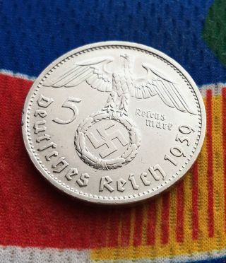 1939 B 5 Mark German Ww2 Silver Coin Third Reich Swastika Reichsmark photo
